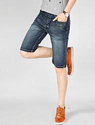 cheap -men's plus size slim jeans / shorts pants - solid colored