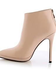povoljno -Žene Cipele Koža Zima Udobne cipele Čizme Stiletto potpetica Crn / Crvena / Pink