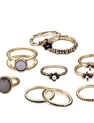 baratos -Mulheres Cruza o Corpo Anel de banda Conjunto de anéis - Rústico / Campestre, Na moda, Hip-Hop Ajustável Dourado Para Cerimônia Encontro / 10pçs