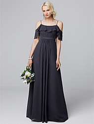 cheap -A-Line Spaghetti Strap Floor Length Chiffon Bridesmaid Dress with Draping / Ruffles by LAN TING BRIDE® / Butterfly Sleeve