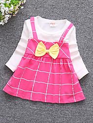 billige -Baby Pige Aktiv I-byen-tøj Trykt mønster Langærmet Bomuld Kjole