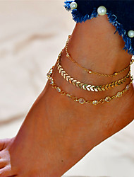 cheap -Layered Anklet - Alphabet Shape Fashion, Multi Layer Gold / Silver For Gift / Daily / Women's