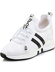 cheap -Women's Shoes Nylon Spring & Summer Comfort Sneakers Running Shoes / Fitness & Cross Training Shoes Wedge Heel Round Toe White / Black /