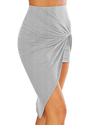 cheap -women's going out plus size asymmetrical bodycon skirts - solid colored high waist