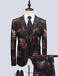 cheap -Men's Party Suits-Floral Notch Lapel / Long Sleeve
