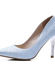 baratos -Mulheres Sapatos Couro Ecológico Primavera Verão Plataforma Básica Saltos Salto Agulha Dedo Apontado Prata / Roxo / Azul