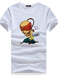 baratos -Homens Camiseta Activo / Básico Estampado, Retrato