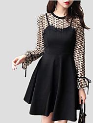 cheap -Women's Sheath / Chiffon / Skater Dress - Solid Colored Lace / Bow / Ruffle