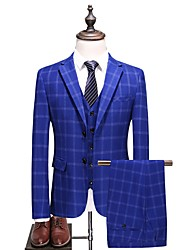 cheap -Men's Plus Size Suits-Houndstooth Notch Lapel / Long Sleeve