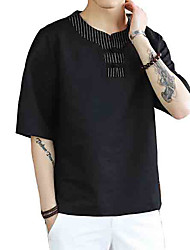 cheap -Men's T-shirt - Solid Colored Round Neck / Short Sleeve