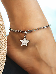 cheap -Single Strand Ankle Bracelet - Face Simple, Dangling Style, Fashion Silver For Gift / Holiday / Women's