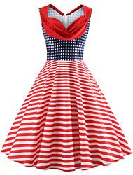 economico -Per donna Vintage Swing Vestito - Con stampe, A strisce / Monocolore Al ginocchio