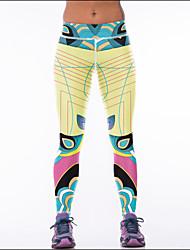 baratos -Mulheres Calças de Yoga - Amarelo Esportes Boêmio Meia-calça / Leggings Roupas Esportivas Respirabilidade Com Stretch
