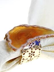 baratos -Clássico Metal Redonda Anel de Guardanapo Padrão Decorações de mesa 6 pcs