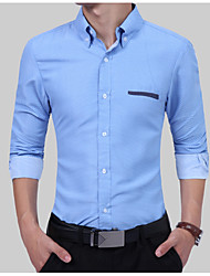 cheap -Men's Work Basic / Chinoiserie Cotton Slim Shirt - Solid Colored / Long Sleeve