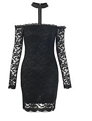cheap -women's going out sheath dress mini halter neck