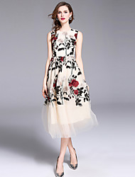 baratos -Mulheres Moda de Rua / Sofisticado Evasê / balanço Vestido - Com Transparência / Bordado, Floral Longo