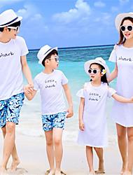 abordables -Adultes Regard de la famille Basique Quotidien Couleur Pleine Manches Courtes Polyester Ensemble de Vêtements Blanc
