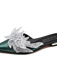 baratos -Mulheres Sapatos Cetim Verão Chanel Tamancos e Mules Sem Salto Dedo Apontado Pedrarias Preto / Verde