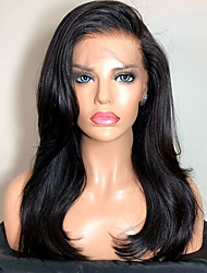 cheap -Remy Human Hair Lace Front Wig Brazilian Hair Straight Wig Side Part 130% Natural Hairline / With Bleached Knots Women's Long Human Hair Lace Wig
