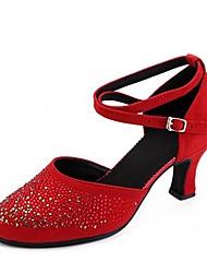 baratos -Mulheres Sapatos de Dança Moderna Microfibra Sandália Detalhes em Cristal Salto Cubano Personalizável Sapatos de Dança Preto / Vermelho