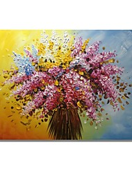 cheap -STYLEDECOR Modern Hand Painted Abstract A Bunch of Pink Flowers Oil Painting on Canvas Wall Art