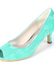 cheap -Women's Shoes Satin Spring & Summer Basic Pump Wedding Shoes Kitten Heel Peep Toe Green / Blue / Ivory / Party & Evening