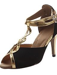 baratos -Mulheres Sapatos de Dança Latina Seda Sandália Salto Alto Magro Sapatos de Dança Preto e Dourado