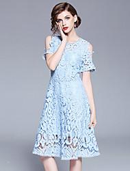 baratos -Mulheres Vintage / Sofisticado Evasê Vestido - Renda / Vazado, Sólido Altura dos Joelhos