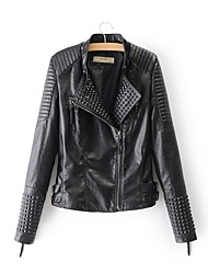 cheap -Women's Going out Leather Jacket - Solid Colored Shirt Collar