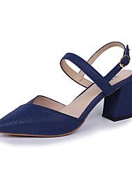 abordables -Femme Chaussures Polyuréthane Eté A Bride Arrière Sandales Block Heel Noir / Rouge / Bleu / Soirée & Evénement