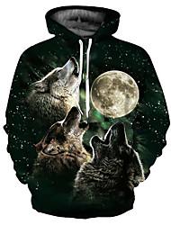 Недорогие -Муж. Классический / преувеличены Большие размеры Свободный силуэт Брюки - 3D / Мультипликация Волк, С принтом Черный / Капюшон / Длинный рукав / Осень / Зима