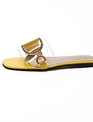 povoljno -Žene Cipele PU Ljeto Udobne cipele Papuče i japanke Ravna potpetica Otvoreno toe Svjetlucave šljokice Obala / Bijela