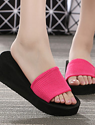 cheap -Women's Shoes Elastic Fabric Spring & Summer Basic Pump Slippers & Flip-Flops Wedge Heel Open Toe Ribbon Tie Red / Green / Blue