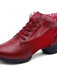 Недорогие -Жен. Танцевальные кроссовки Наппа Leather Кроссовки Кубинский каблук Танцевальная обувь Белый / Черный / Темно-красный