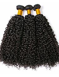 abordables -Cabello Brasileño Rizado Tejidos Humanos Cabello / Extensiones Naturales 3 paquetes 8-28 pulgada Cabello humano teje Sin Tapa Diseños de Moda / Mejor calidad / Para mujeres de color Negro Natural
