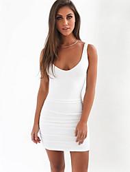 baratos -Mulheres Para Noite Bainha Vestido Com Alças Médio / Frente Única