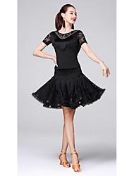abordables -Danse latine Tenue Femme Entraînement Fibre de Lait Dentelle / Gland Manches Courtes Taille moyenne Jupes / Haut