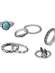 baratos -Mulheres Turquesa Lustres Conjunto de anéis - Punk, Cigana, Antigo Egito Prata Para Mascarilha / namorados