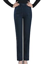 abordables -Mujer Alta cintura Algodón Vaqueros Pantalones - Un Color / Floral / Bloques Jacquard / Bordado