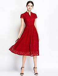 baratos -Mulheres Vintage / Moda de Rua Evasê Vestido - Renda, Sólido Médio