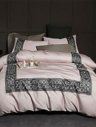 baratos -Conjunto de Capa de Edredão Contemporâneo 100% algodão / 100% Algodão Egípcio Bordado 4 PeçasBedding Sets / 300 / 4peças (1 edredão, 1 lençol, 2 coberturas)