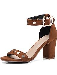 お買い得  -女性用 靴 PUレザー 夏 アンクルストラップ サンダル チャンキーヒール オープントゥ ブラック / ライトブラウン