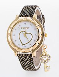 Недорогие -Жен. Наручные часы Китайский Повседневные часы Кожа Группа Heart Shape / Мода Черный / Белый / Синий
