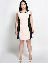 hesapli -Kadın's Büyük Bedenler Çalışma Temel İnce Kombinezon Kılıf Elbise - Zıt Renkli Diz-boyu Diz üstü