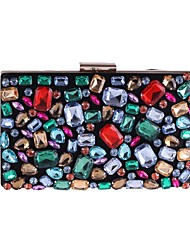 Недорогие -Жен. Мешки Полиэстер Вечерняя сумочка Пуговицы / Кристаллы Цветочный принт Черный