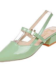baratos -Mulheres Sapatos Couro Ecológico Verão Conforto Mocassins e Slip-Ons Salto de bloco Ponta quadrada Bege / Verde / Rosa claro