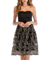 cheap -Women's Slim A Line Dress - Floral High Waist Strapless / Summer