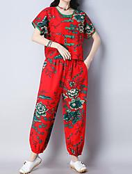 abordables -Mujer Vintage / Tejido Oriental Conjunto - Floral / A Cuadros Pantalón