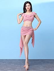 abordables -Danza del Vientre Accesorios Mujer Entrenamiento Modal Encaje / Volantes en Cascada Sin Mangas Cintura Baja Faldas / Top
